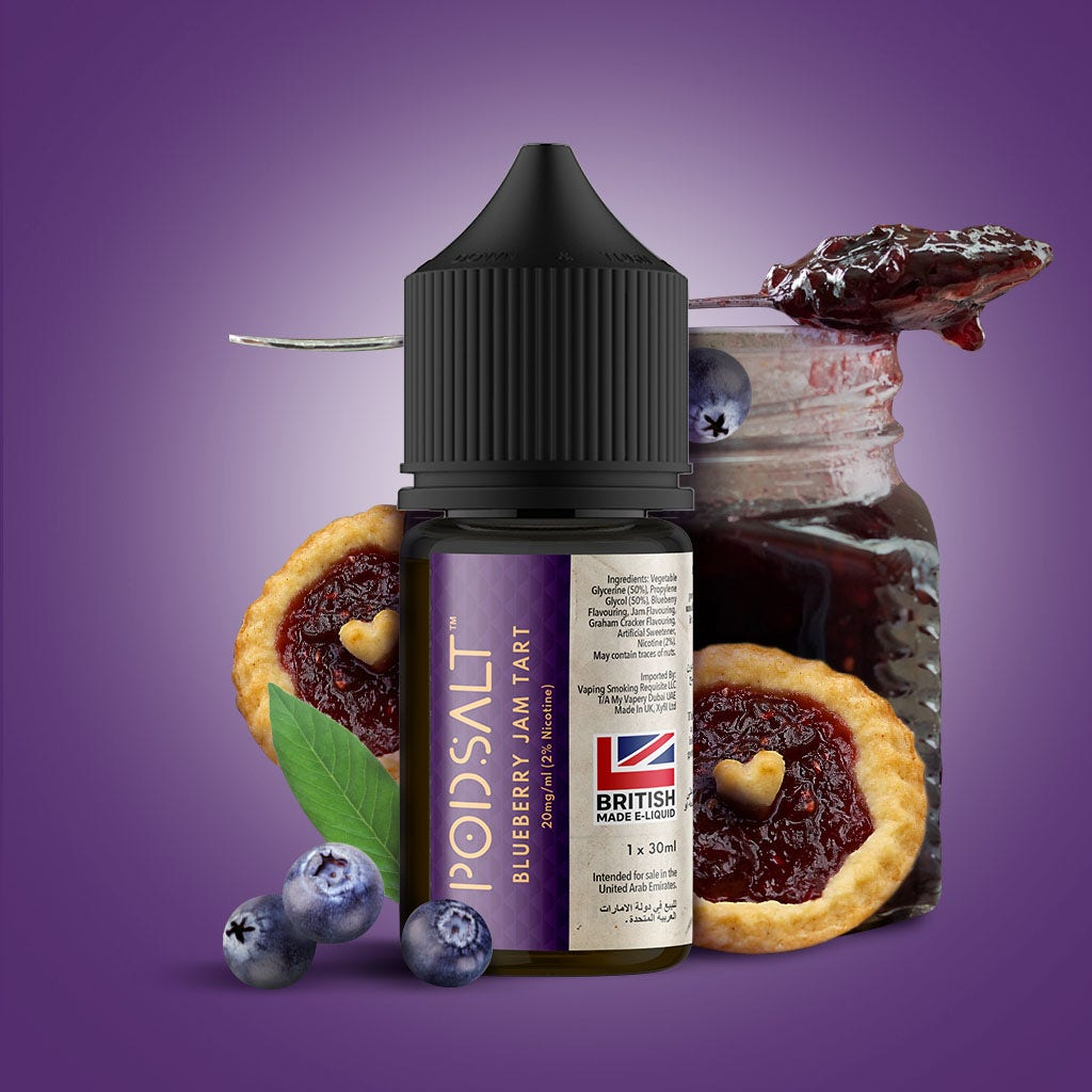 Pod Salt Fusion E-Liquid bottle Blueberry Jam Tart flavour
